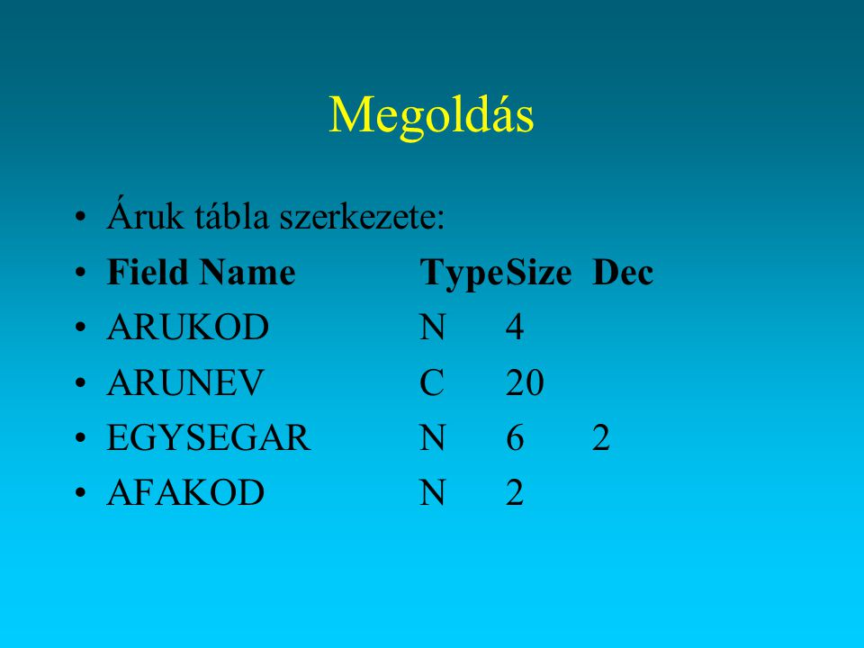 Megoldás Indexet állítsuk be a define gomb lenyomásával (ARUKOD).
