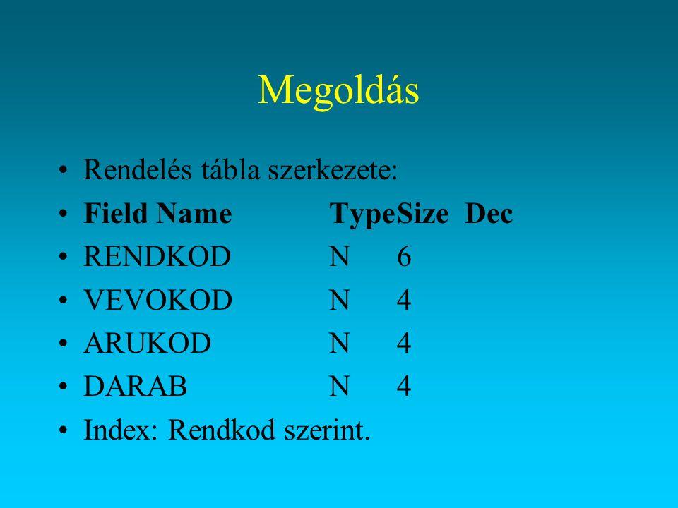Megoldás Rendelés tábla szerkezete: Field NameTypeSizeDec RENDKODN6 VEVOKODN4 ARUKODN4 DARABN4 Index: Rendkod szerint.