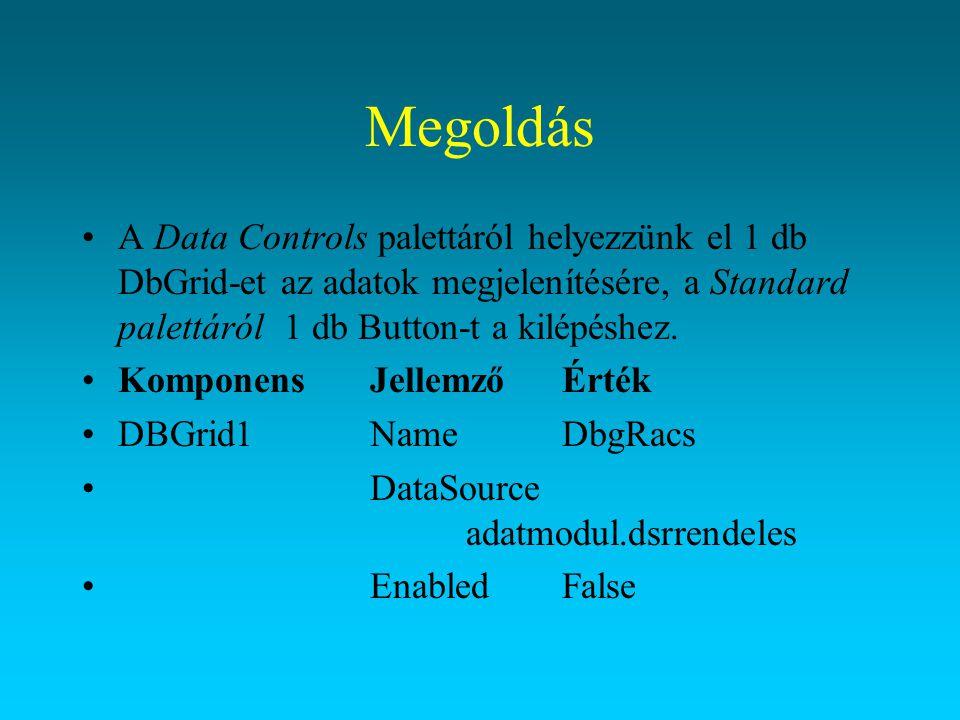 Megoldás A Data Controls palettáról helyezzünk el 1 db DbGrid-et az adatok megjelenítésére, a Standard palettáról 1 db Button-t a kilépéshez. Komponen