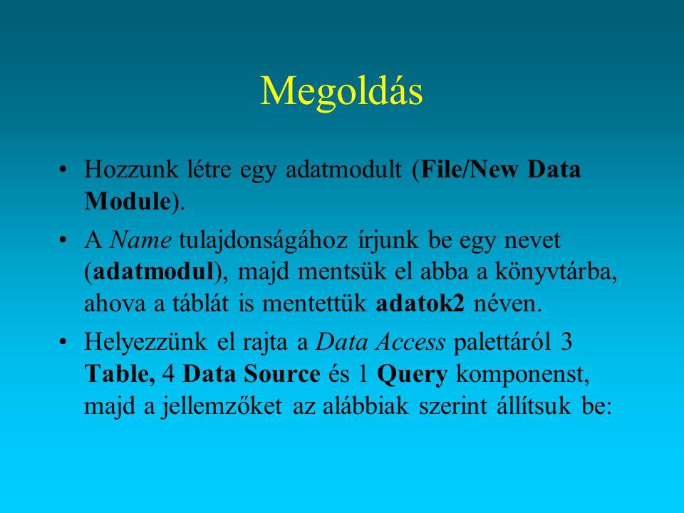 Megoldás Hozzunk létre egy adatmodult (File/New Data Module). A Name tulajdonságához írjunk be egy nevet (adatmodul), majd mentsük el abba a könyvtárb