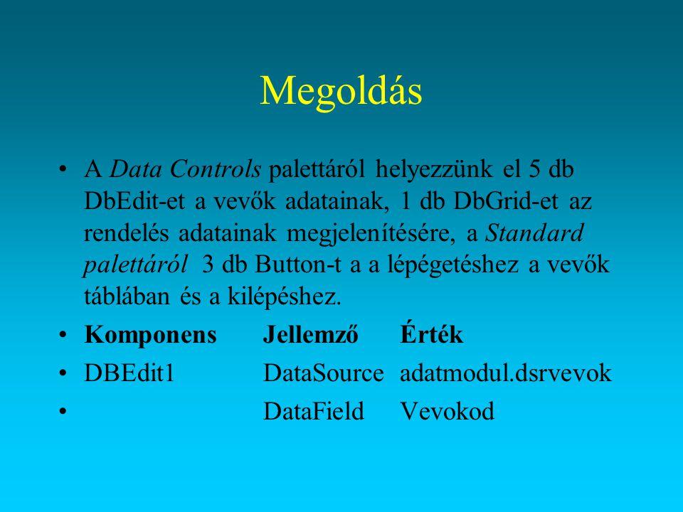 Megoldás A Data Controls palettáról helyezzünk el 5 db DbEdit-et a vevők adatainak, 1 db DbGrid-et az rendelés adatainak megjelenítésére, a Standard p
