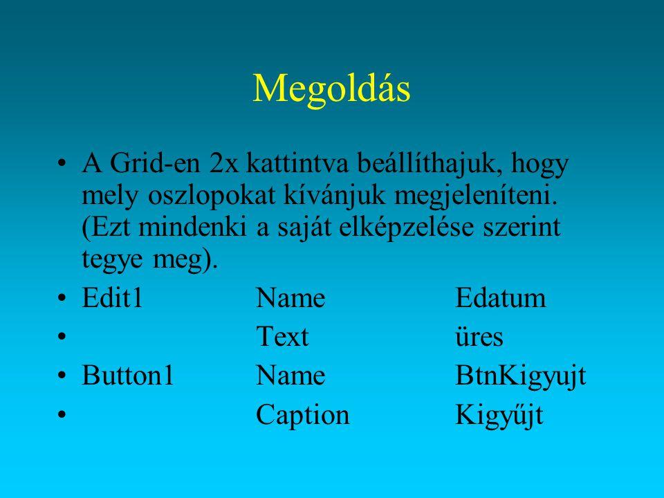 Megoldás OnClick eseménye: procedure TFrmrenddatum.btnkigyujtClick(Sender: TObject); begin with adatmodul.renddatum do begin Try close; parambyname( renddat ).AsDate:=StrToDate(EDatum.text); prepare; open; Except on EConvertError do begin ShowMessage( A dátum formátuma nem megfelelő! +#13#10+ Például: +DateToStr(Date)); end; End; end;