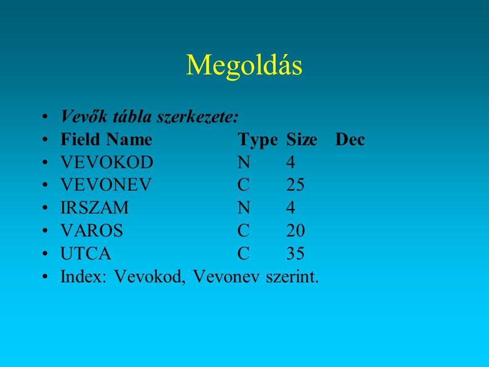 Megoldás Rendelés tábla szerkezete: Field NameTypeSizeDec RENDKODN6 VEVOKODN4 ARUKODN4 DARABN4 DATUMD8 Index: Rendkod szerint.