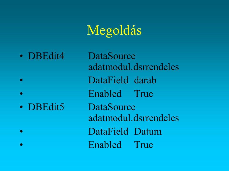 Megoldás DBLookupListBoxListSourceadatmodul.dsrvevok (melyik táblából vesszük a tartalmát) ListFieldvevonev;varos;utca (mely mezőket szeretnénk látni ';') DataSourceadatmodul.dsrrendeles DataFieldVevokod KeyFieldvevokod(a kiválasztott rekord melyik mezőjének értékét írja be a DataSource adatforrás DataField mezőjébe) A listában megjelenő adatok közül az első oszlop keresett értékének gépélése esetén a beírt értékű rekordra keres rá elég gyors billentyűkattogtatás esetén.
