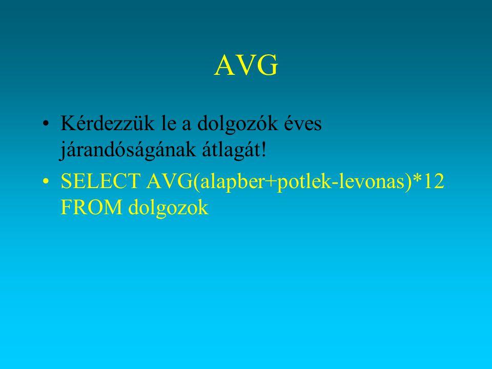 AVG Kérdezzük le a dolgozók éves járandóságának átlagát! SELECT AVG(alapber+potlek-levonas)*12 FROM dolgozok