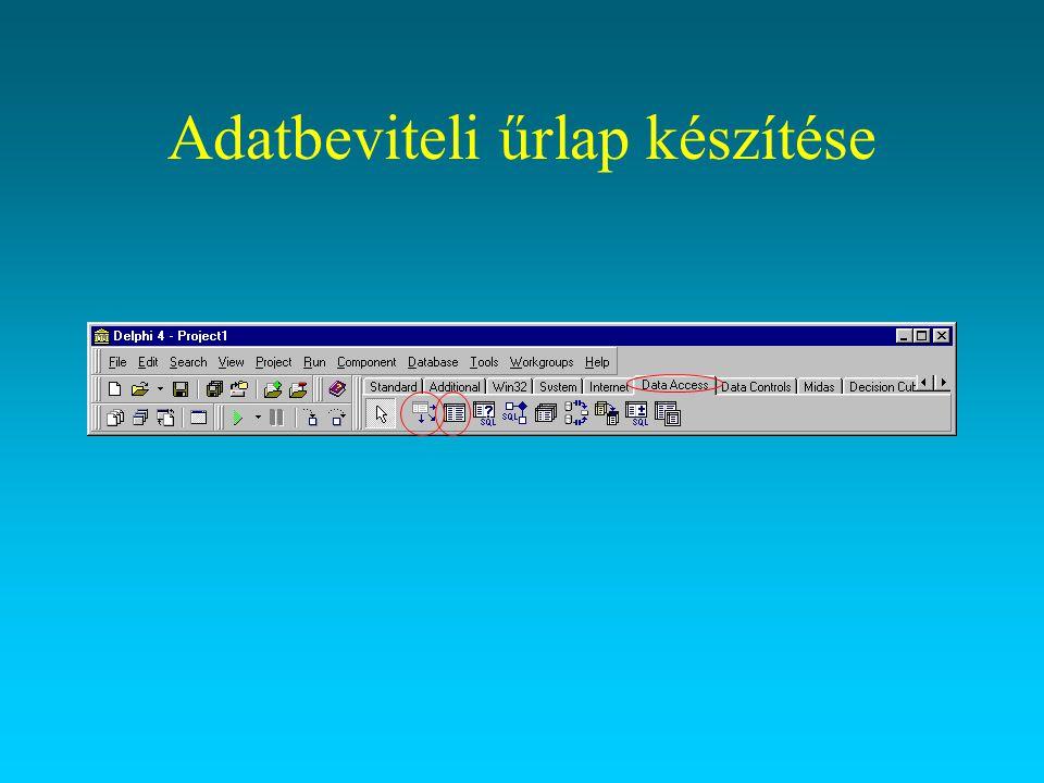 File > New… > Data Module DataModule2.Name:=Adatmodul Mentsünk mindent egy új könyvtárba –A tanulókat tartalmazó táblát indexestül helyezzük ebbe a könyvtárba DataSource1.DataSet:=Table1 Table1.TableName:=tanulok.dbf Table1.Active:=true