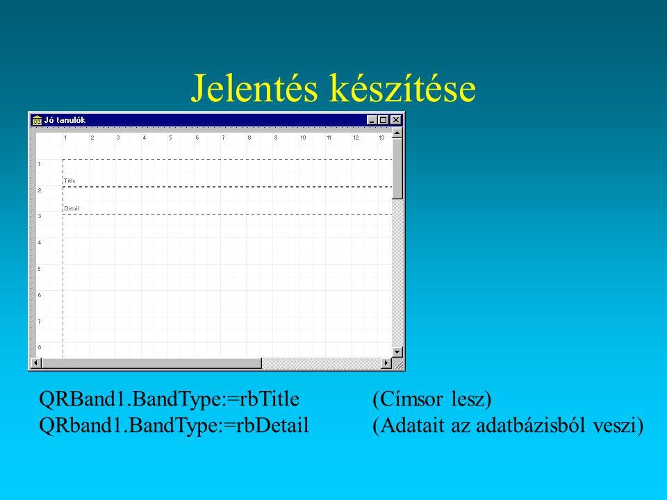 Jelentés Készítsünk egy külön könyvtárat, másoljuk bele a tanulókat tartalmazó adatbázist indexesetül.