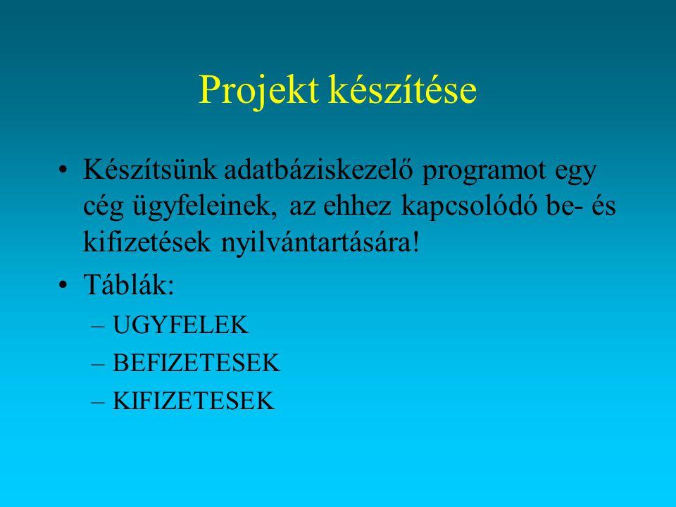 Projekt készítése Készítsünk adatbáziskezelő programot egy cég ügyfeleinek, az ehhez kapcsolódó be- és kifizetések nyilvántartására! Táblák: –UGYFELEK