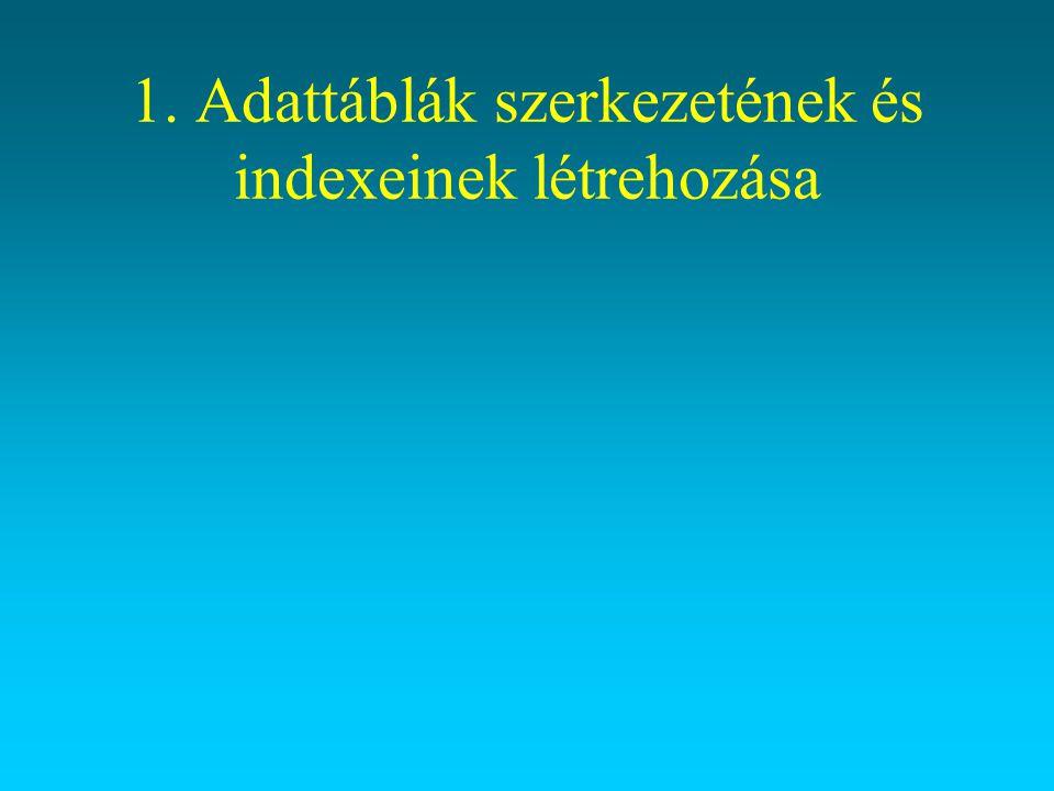 1. Adattáblák szerkezetének és indexeinek létrehozása
