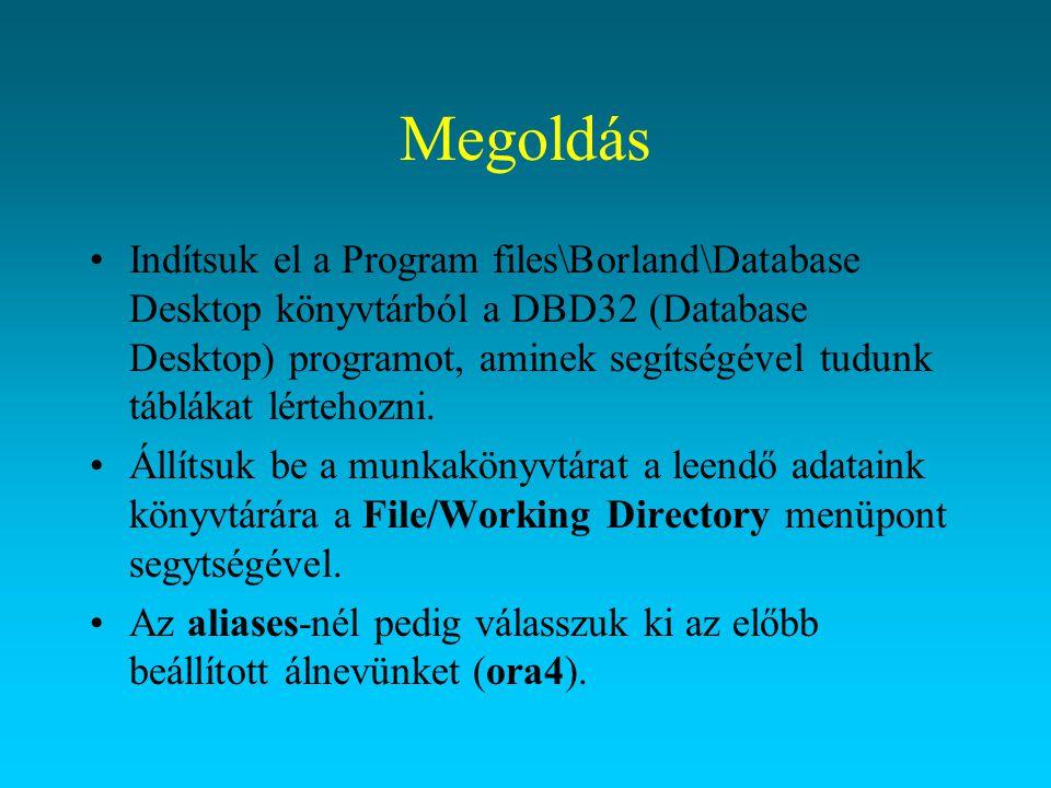 Megoldás Indítsuk el a Program files\Borland\Database Desktop könyvtárból a DBD32 (Database Desktop) programot, aminek segítségével tudunk táblákat lé