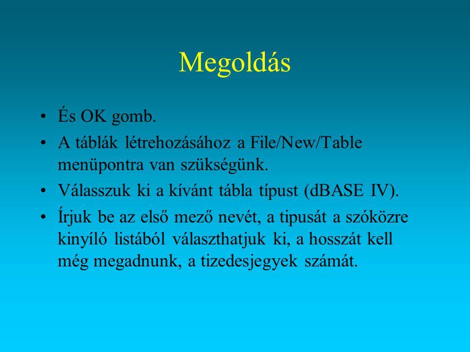 Megoldás És OK gomb. A táblák létrehozásához a File/New/Table menüpontra van szükségünk. Válasszuk ki a kívánt tábla típust (dBASE IV). Írjuk be az el