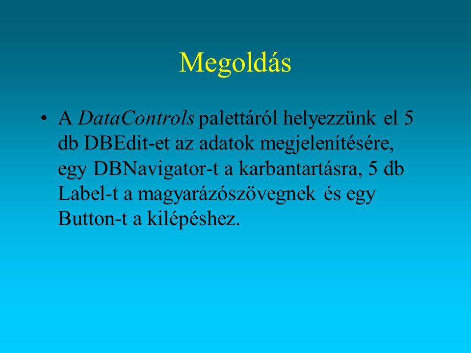 Megoldás A DataControls palettáról helyezzünk el 5 db DBEdit-et az adatok megjelenítésére, egy DBNavigator-t a karbantartásra, 5 db Label-t a magyaráz