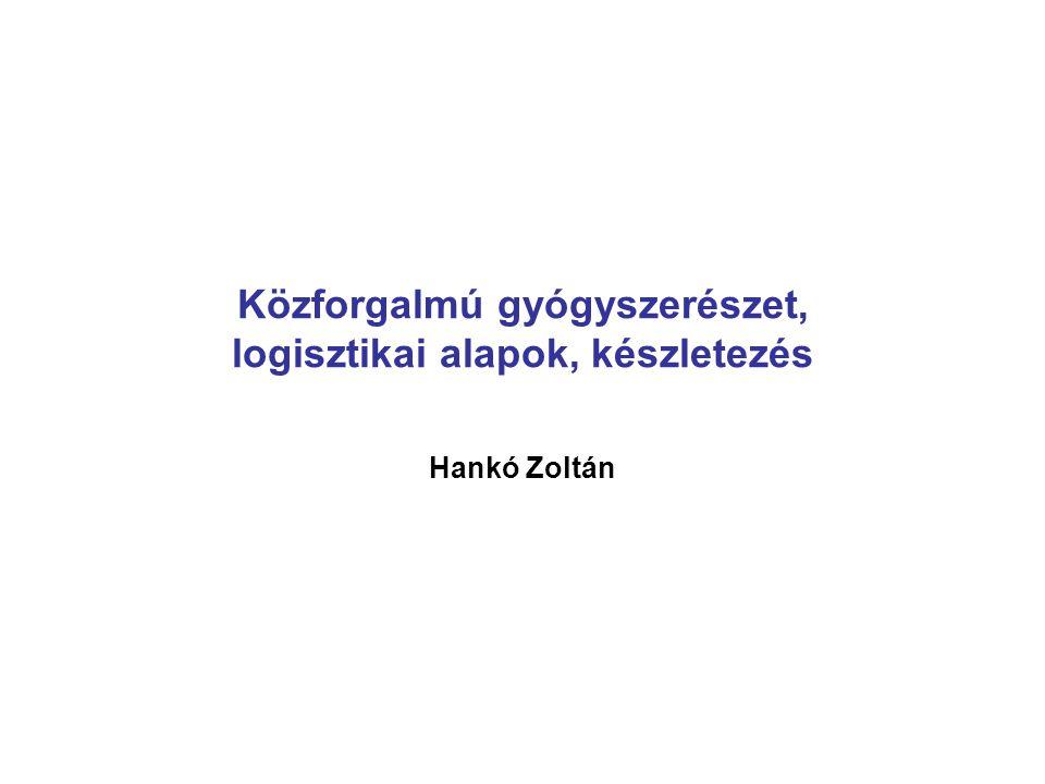 Közforgalmú gyógyszerészet, logisztikai alapok, készletezés Hankó Zoltán