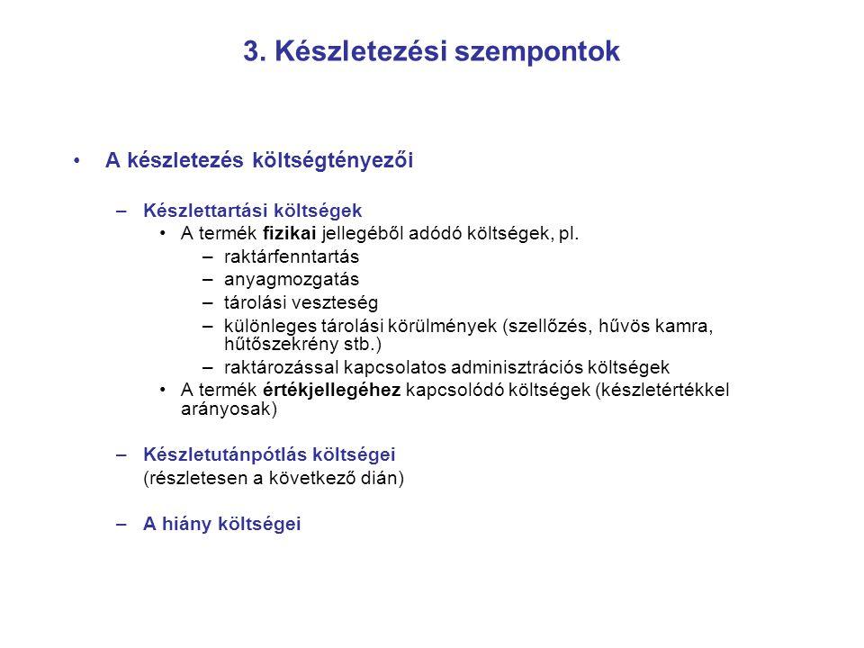 3. Készletezési szempontok A készletezés költségtényezői –Készlettartási költségek A termék fizikai jellegéből adódó költségek, pl. –raktárfenntartás