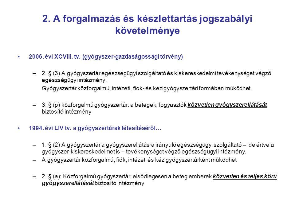 2. A forgalmazás és készlettartás jogszabályi követelménye 2006. évi XCVIII. tv. (gyógyszer-gazdaságossági törvény) –2. § (3) A gyógyszertár egészségü