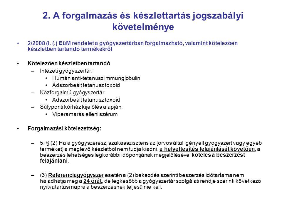 2. A forgalmazás és készlettartás jogszabályi követelménye 2/2008 (I. (.) EüM rendelet a gyógyszertárban forgalmazható, valamint kötelezően készletben
