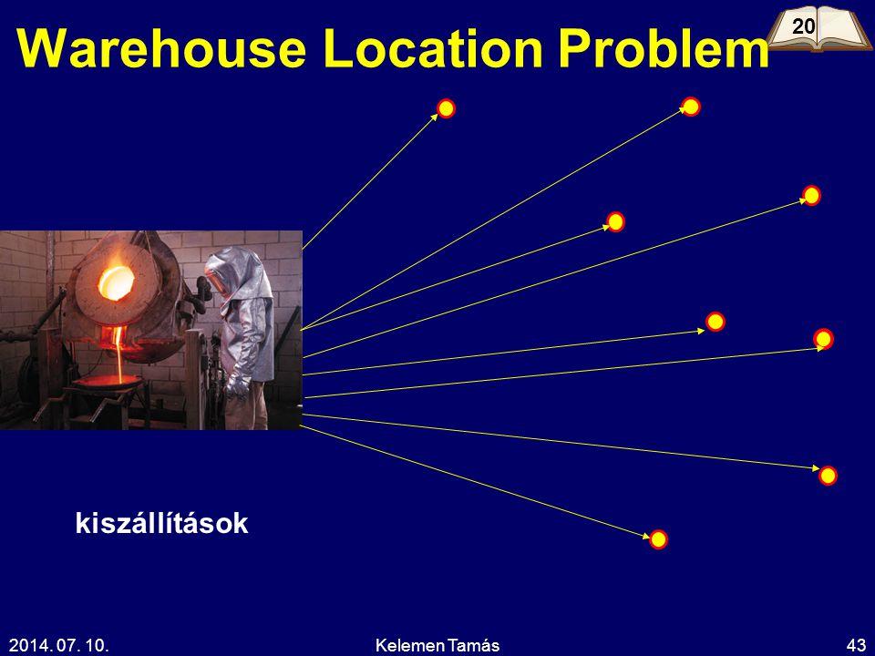2014. 07. 10.Kelemen Tamás43 Warehouse Location Problem 20 kiszállítások