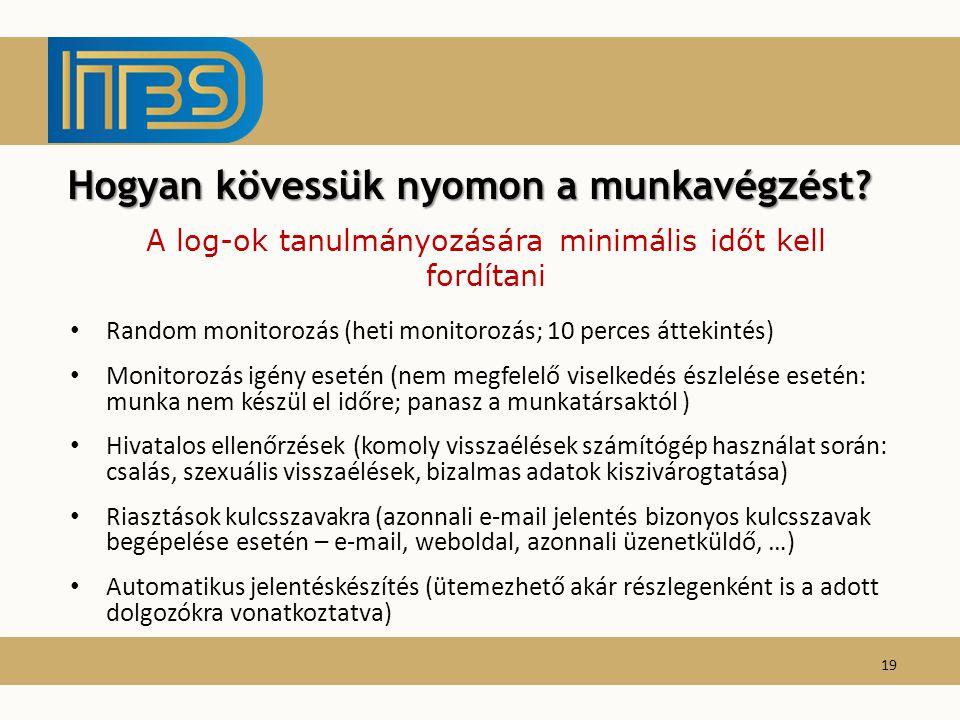 Random monitorozás (heti monitorozás; 10 perces áttekintés) Monitorozás igény esetén (nem megfelelő viselkedés észlelése esetén: munka nem készül el i