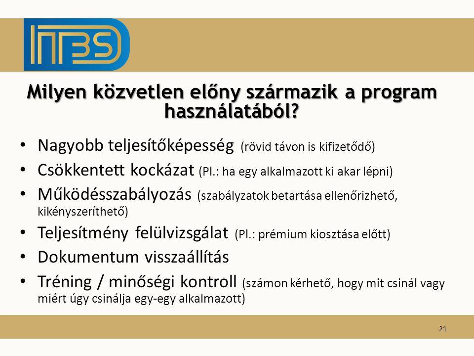 Nagyobb teljesítőképesség (rövid távon is kifizetődő) Csökkentett kockázat (Pl.: ha egy alkalmazott ki akar lépni) Működésszabályozás (szabályzatok be