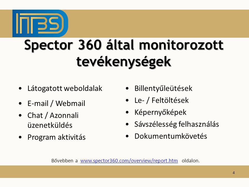 Spector 360 által monitorozott tevékenységek Billentyűleütések Le- / Feltöltések Képernyőképek Sávszélesség felhasználás Dokumentumkövetés Látogatott