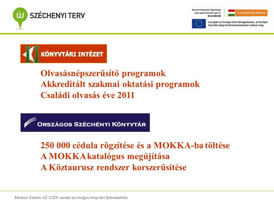 Bánkeszi Katalin: AZ OSZK szerepe az országos könyvtári fejlesztésekben Olvasásnépszerűsítő programok Akkreditált szakmai oktatási programok Családi o