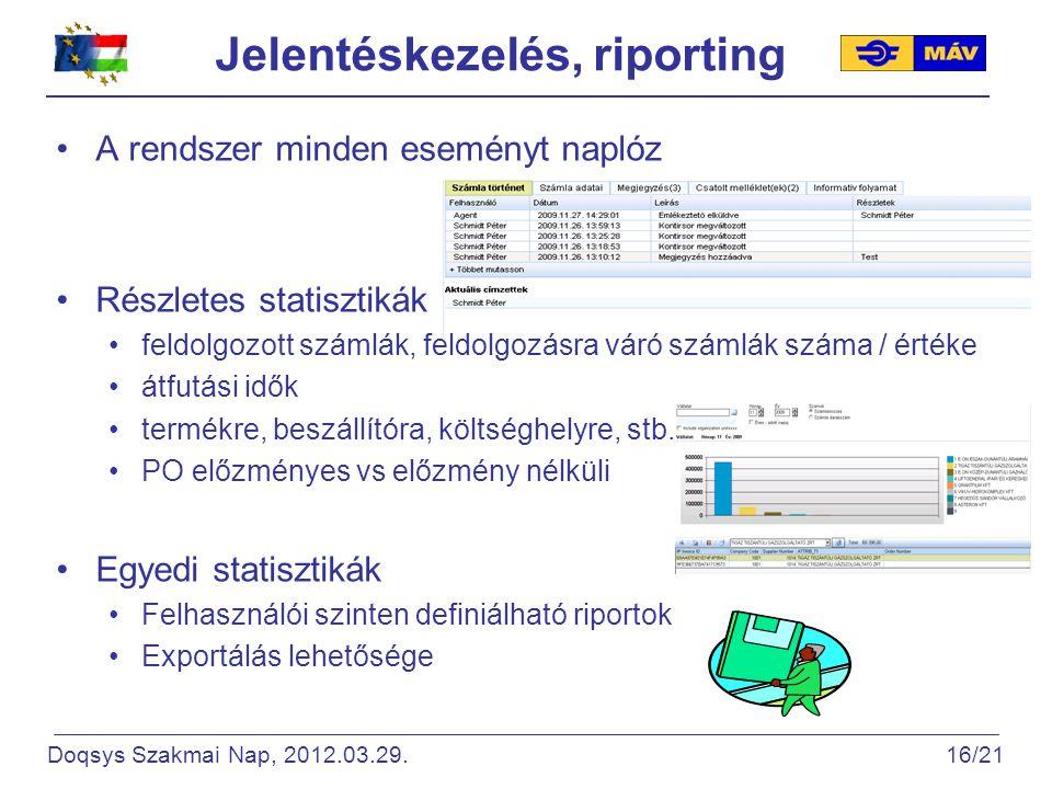 Jelentéskezelés, riporting A rendszer minden eseményt naplóz Részletes statisztikák feldolgozott számlák, feldolgozásra váró számlák száma / értéke átfutási idők termékre, beszállítóra, költséghelyre, stb.
