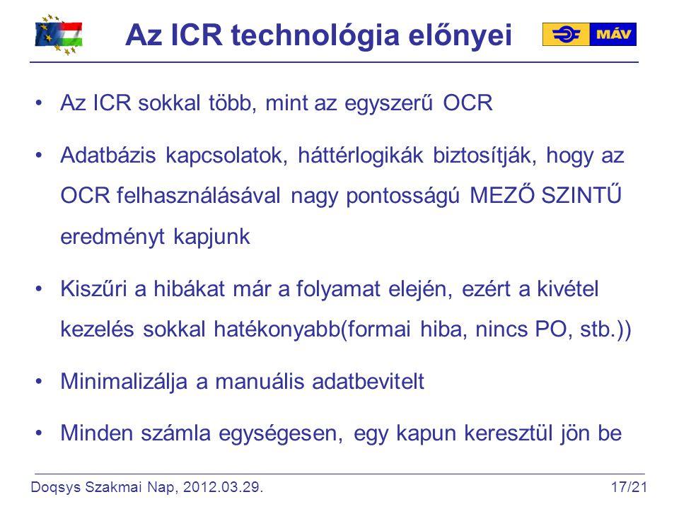 Az ICR technológia előnyei Az ICR sokkal több, mint az egyszerű OCR Adatbázis kapcsolatok, háttérlogikák biztosítják, hogy az OCR felhasználásával nagy pontosságú MEZŐ SZINTŰ eredményt kapjunk Kiszűri a hibákat már a folyamat elején, ezért a kivétel kezelés sokkal hatékonyabb(formai hiba, nincs PO, stb.)) Minimalizálja a manuális adatbevitelt Minden számla egységesen, egy kapun keresztül jön be Doqsys Szakmai Nap, 2012.03.29.