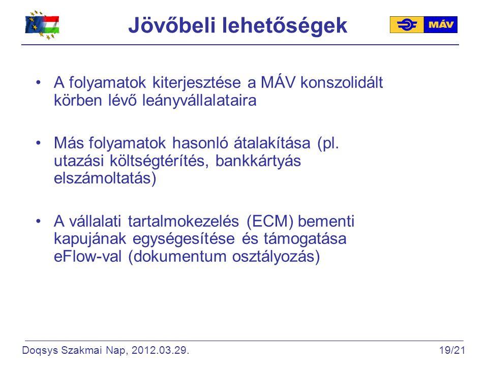 Jövőbeli lehetőségek A folyamatok kiterjesztése a MÁV konszolidált körben lévő leányvállalataira Más folyamatok hasonló átalakítása (pl.
