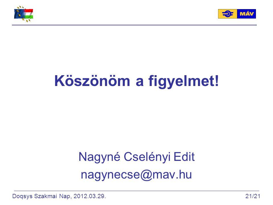 Köszönöm a figyelmet! Nagyné Cselényi Edit nagynecse@mav.hu Doqsys Szakmai Nap, 2012.03.29. 21/21