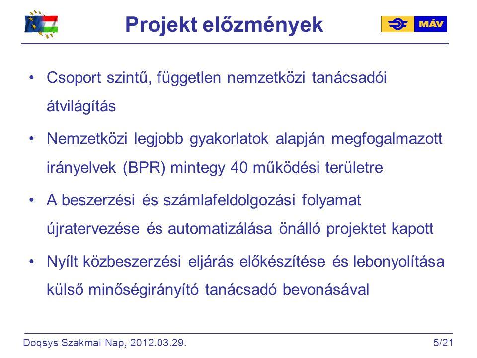Projekt előzmények Csoport szintű, független nemzetközi tanácsadói átvilágítás Nemzetközi legjobb gyakorlatok alapján megfogalmazott irányelvek (BPR) mintegy 40 működési területre A beszerzési és számlafeldolgozási folyamat újratervezése és automatizálása önálló projektet kapott Nyílt közbeszerzési eljárás előkészítése és lebonyolítása külső minőségirányító tanácsadó bevonásával Doqsys Szakmai Nap, 2012.03.29.