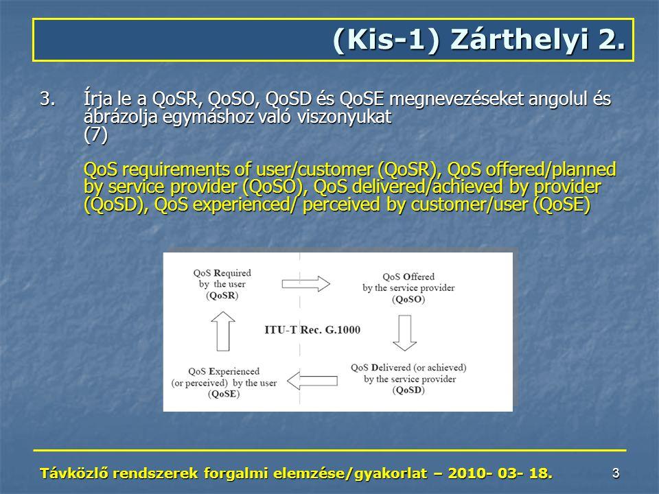 Távközlő rendszerek forgalmi elemzése/gyakorlat – 2010- 03- 18.