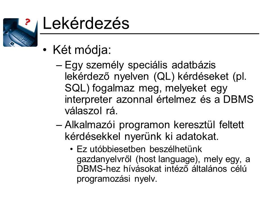 Lekérdezés Két módja: –Egy személy speciális adatbázis lekérdező nyelven (QL) kérdéseket (pl. SQL) fogalmaz meg, melyeket egy interpreter azonnal érte