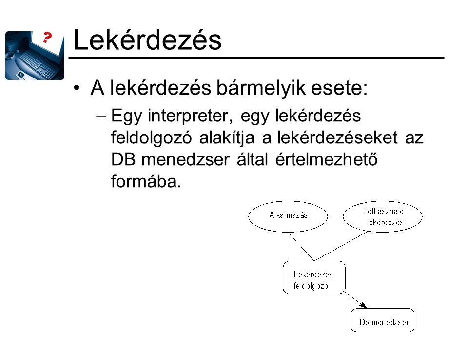 Lekérdezés A lekérdezés bármelyik esete: –Egy interpreter, egy lekérdezés feldolgozó alakítja a lekérdezéseket az DB menedzser által értelmezhető form