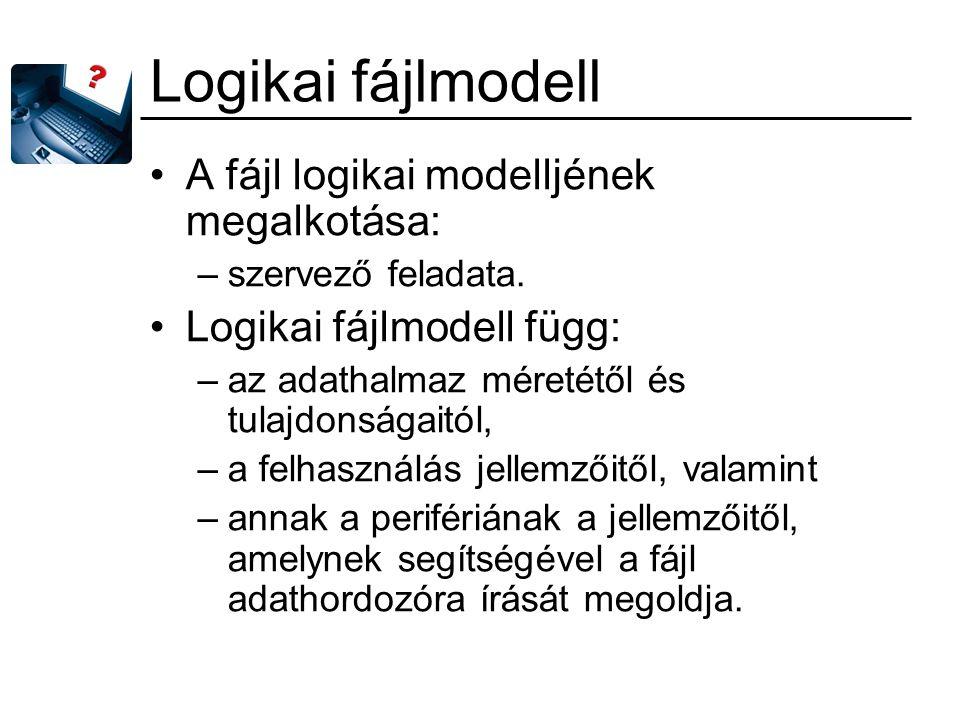 Logikai fájlmodell A fájl logikai modelljének megalkotása: –szervező feladata. Logikai fájlmodell függ: –az adathalmaz méretétől és tulajdonságaitól,