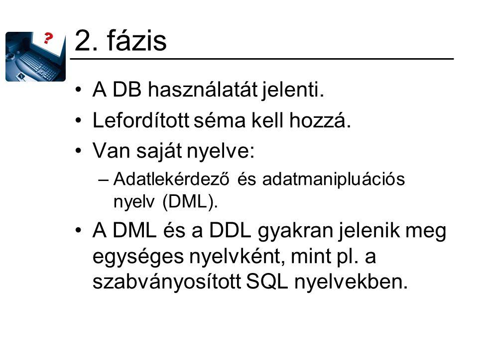 2. fázis A DB használatát jelenti. Lefordított séma kell hozzá. Van saját nyelve: –Adatlekérdező és adatmanipluációs nyelv (DML). A DML és a DDL gyakr