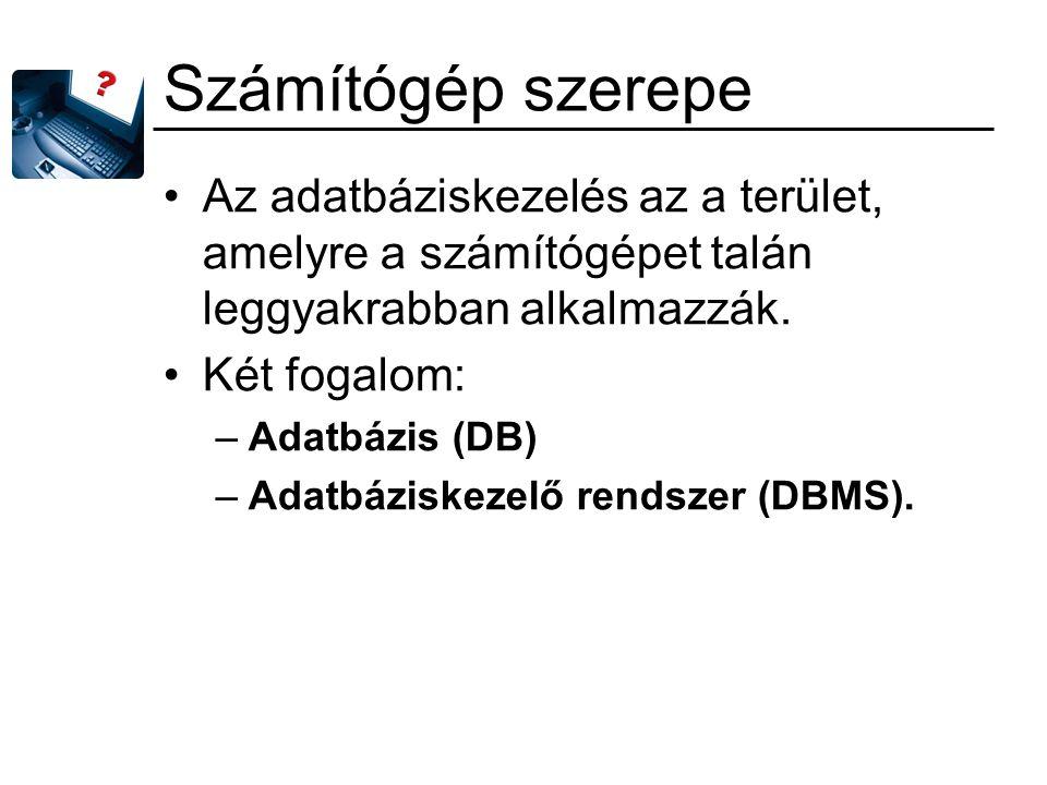 Az adatbáziskezelés Adatbázis: –a valós világ egy részhalmazának leírásához használt adatok összefüggő, rendezett halmaza.