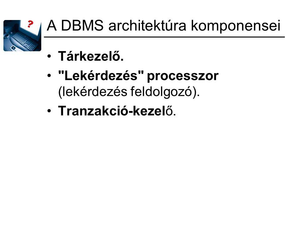 A DBMS architektúra komponensei Tárkezelő.