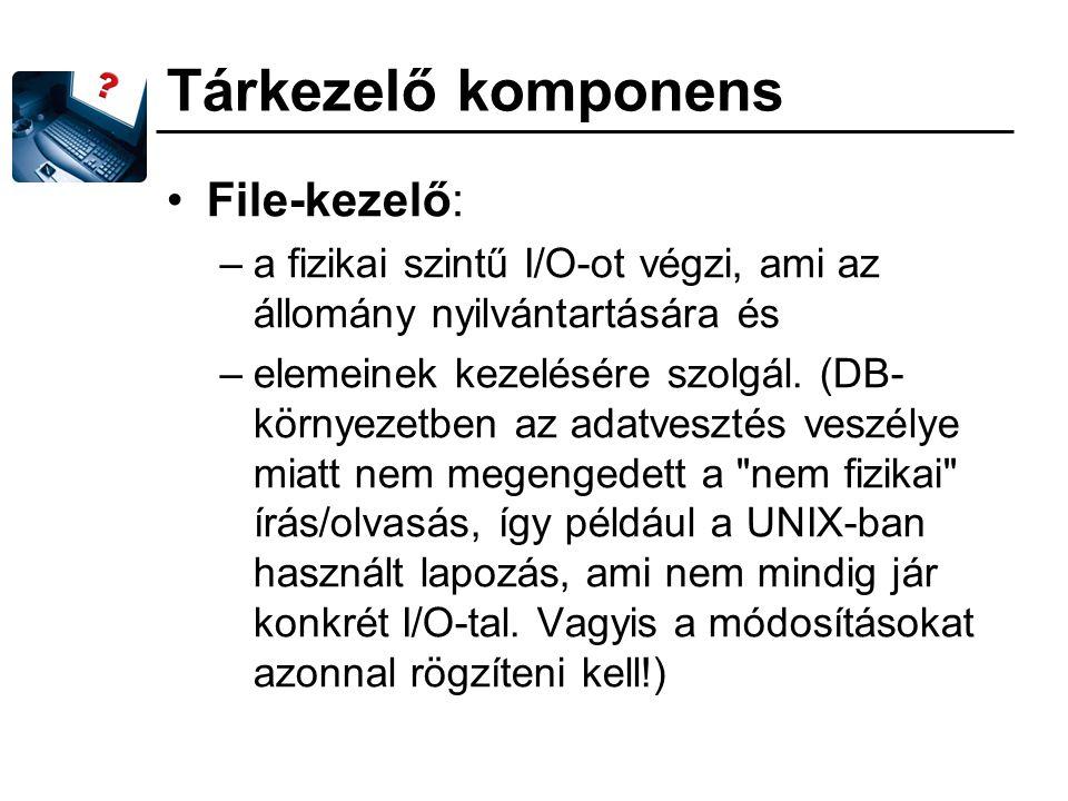 Tárkezelő komponens File-kezelő: –a fizikai szintű I/O-ot végzi, ami az állomány nyilvántartására és –elemeinek kezelésére szolgál. (DB- környezetben