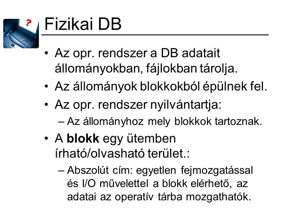 Fizikai DB Az opr. rendszer a DB adatait állományokban, fájlokban tárolja. Az állományok blokkokból épülnek fel. Az opr. rendszer nyilvántartja: –Az á
