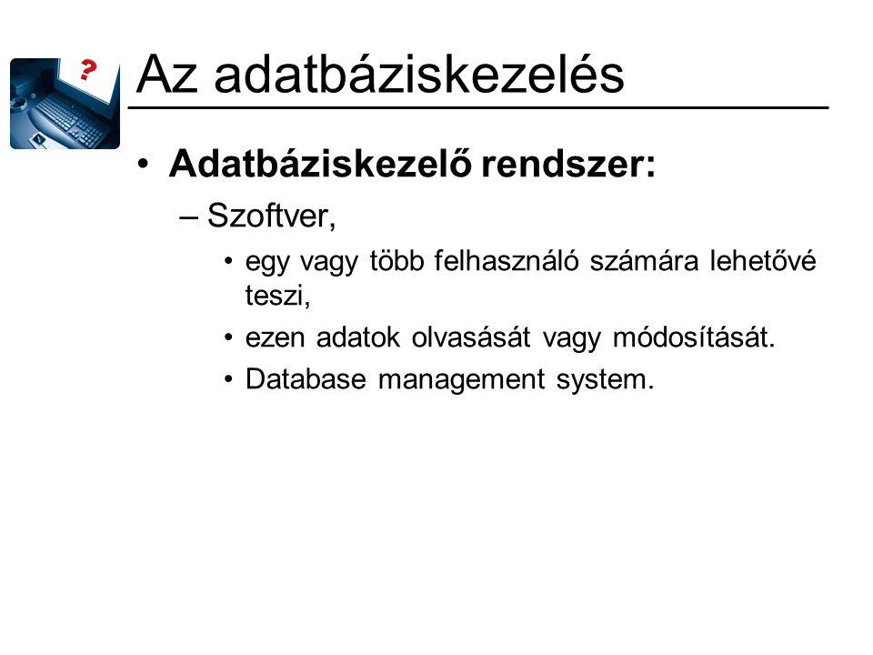 Az adatbáziskezelés Adatbáziskezelő rendszer: –Szoftver, egy vagy több felhasználó számára lehetővé teszi, ezen adatok olvasását vagy módosítását. Dat