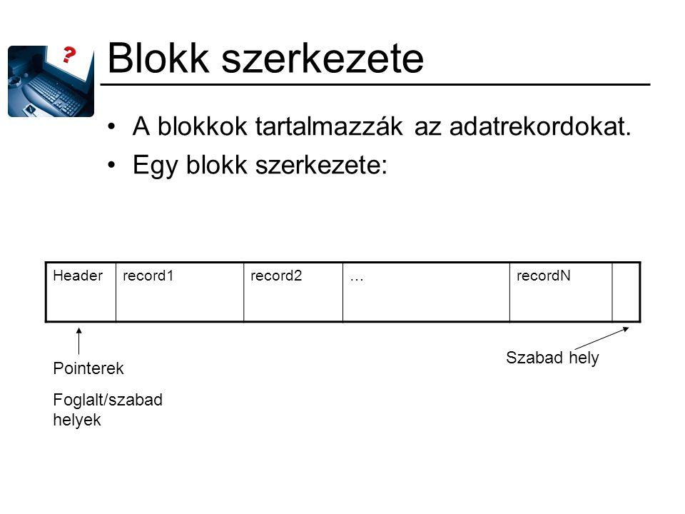 Blokk szerkezete A blokkok tartalmazzák az adatrekordokat. Egy blokk szerkezete: Headerrecord1record2…recordN Pointerek Foglalt/szabad helyek Szabad h