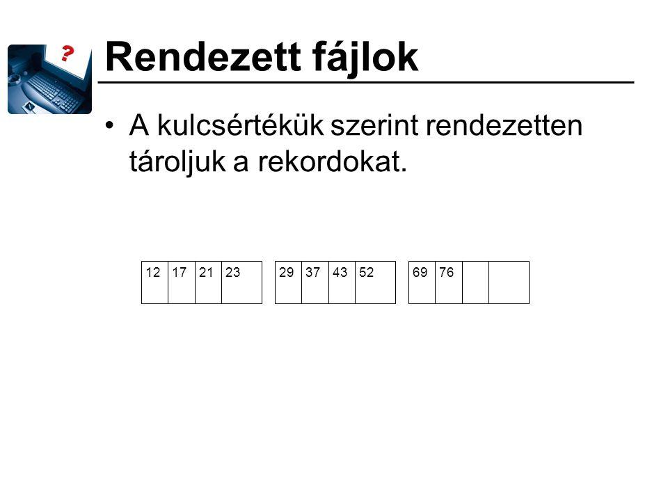 Rendezett fájlok A kulcsértékük szerint rendezetten tároljuk a rekordokat. 12172123293743526976
