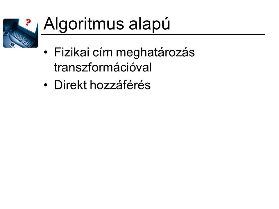 Algoritmus alapú Fizikai cím meghatározás transzformációval Direkt hozzáférés