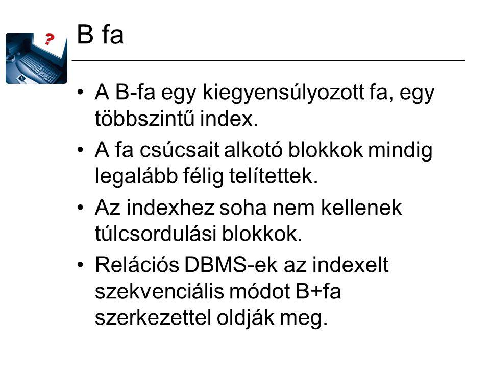 B fa A B-fa egy kiegyensúlyozott fa, egy többszintű index. A fa csúcsait alkotó blokkok mindig legalább félig telítettek. Az indexhez soha nem kellene