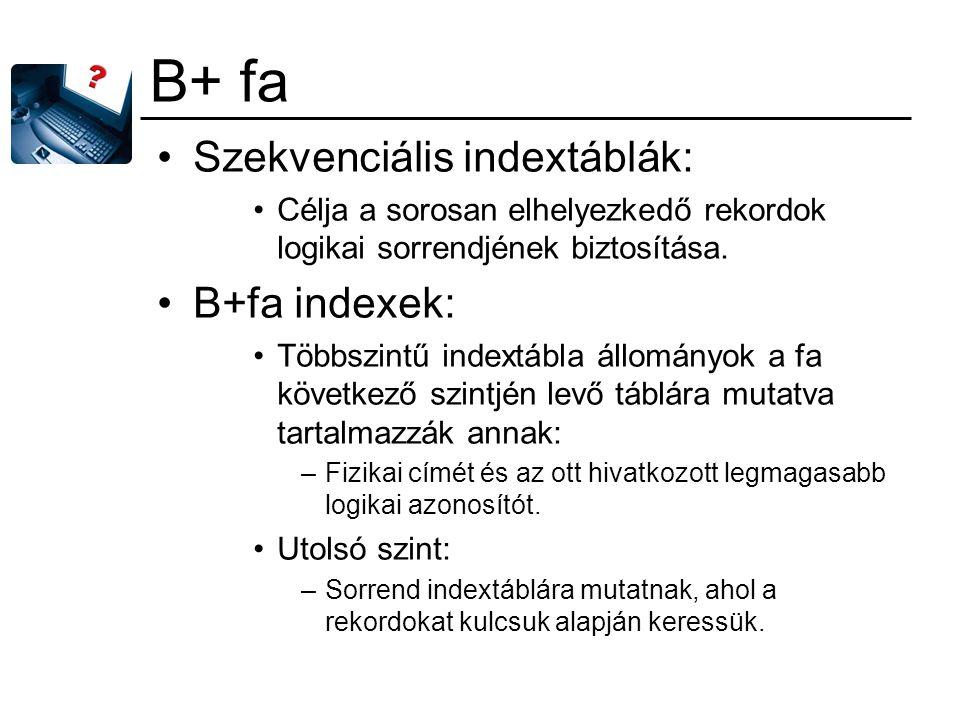 B+ fa Szekvenciális indextáblák: Célja a sorosan elhelyezkedő rekordok logikai sorrendjének biztosítása. B+fa indexek: Többszintű indextábla állományo