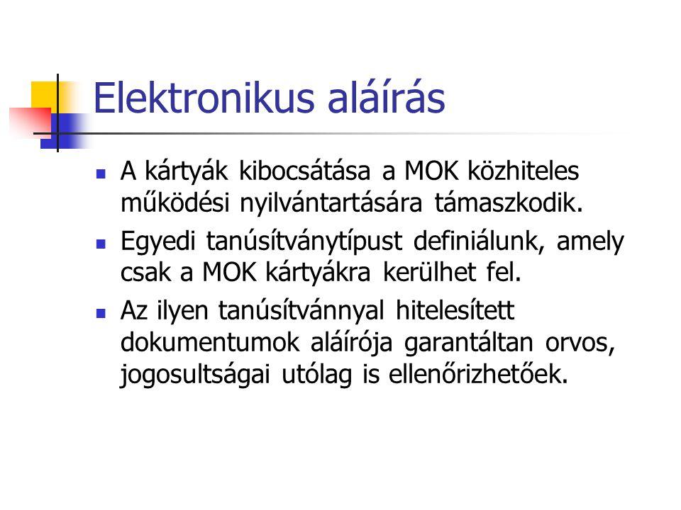 Elektronikus aláírás A kártyák kibocsátása a MOK közhiteles működési nyilvántartására támaszkodik. Egyedi tanúsítványtípust definiálunk, amely csak a