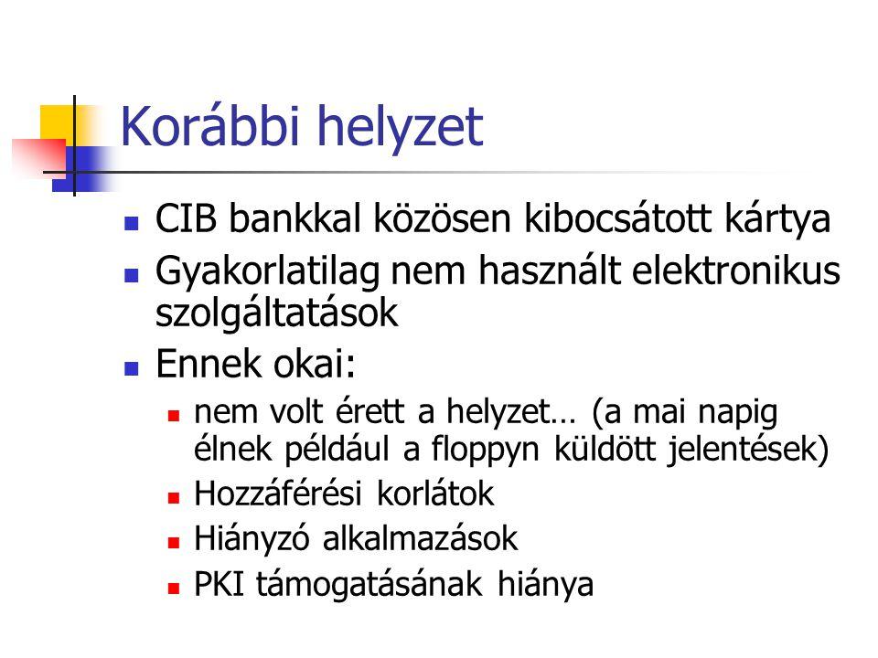 Korábbi helyzet CIB bankkal közösen kibocsátott kártya Gyakorlatilag nem használt elektronikus szolgáltatások Ennek okai: nem volt érett a helyzet… (a