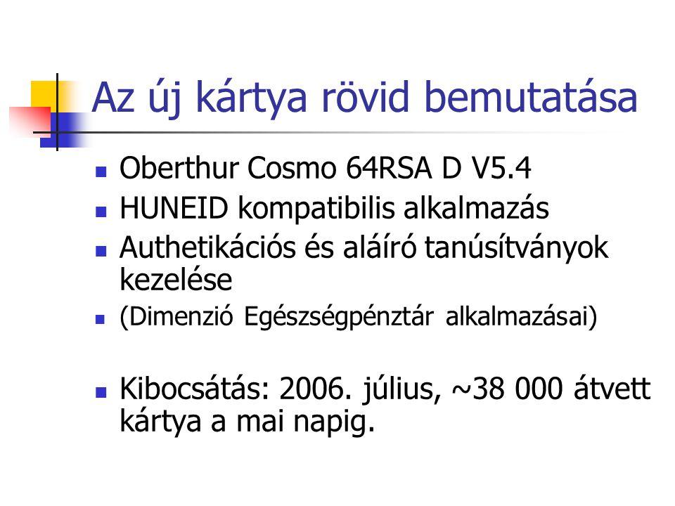 Az új kártya rövid bemutatása Oberthur Cosmo 64RSA D V5.4 HUNEID kompatibilis alkalmazás Authetikációs és aláíró tanúsítványok kezelése (Dimenzió Egés