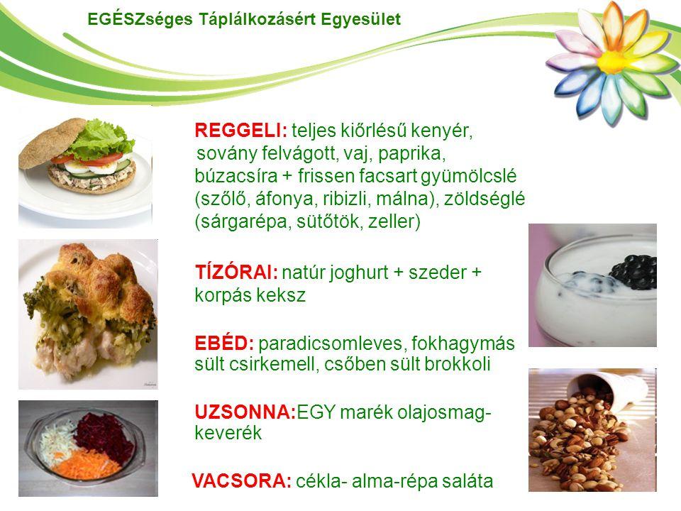 EGÉSZséges Táplálkozásért Egyesület REGGELI: teljes kiőrlésű kenyér, sovány felvágott, vaj, paprika, búzacsíra + frissen facsart gyümölcslé (szőlő, áf