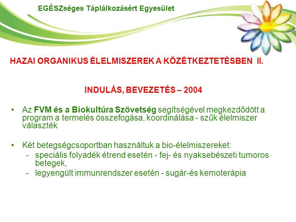 EGÉSZséges Táplálkozásért Egyesület HAZAI ORGANIKUS ÉLELMISZEREK A KÖZÉTKEZTETÉSBEN II. INDULÁS, BEVEZETÉS – 2004 Az FVM és a Biokultúra Szövetség seg